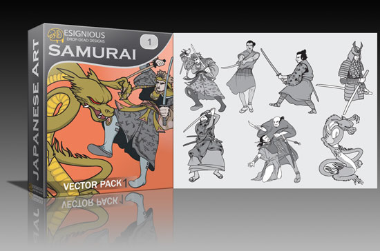 samurai1 Japanese, Obama and retro seamless vector packs