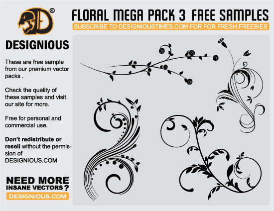 designious floral mega pack 3 free samples Awesome premium vector freebies