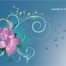 Blue background floral illustration