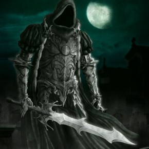 Death knight with hood and giant sword
