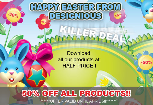 easter happy holidays from designious  50% OFF All Products from Designious !