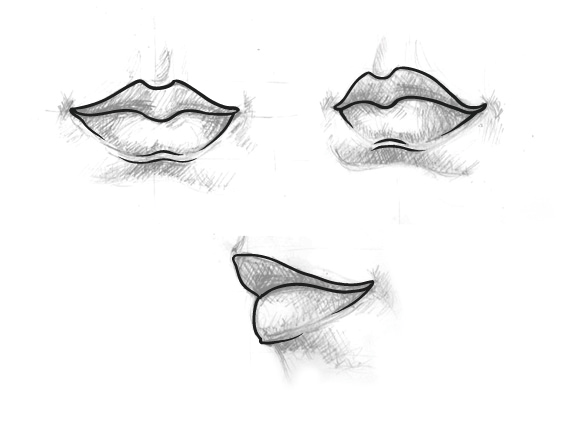 Line Art Lips : Drawing vector portraits part the lips pixel