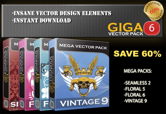 giga 6 Fresh Vector Packs: Harpies, Retro Girls, Dogs, Ravens, Wild Animals and Scrolls
