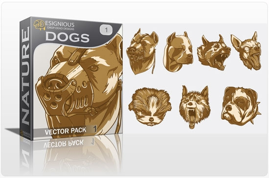 vector dogs Fresh Vector Packs: Harpies, Retro Girls, Dogs, Ravens, Wild Animals and Scrolls