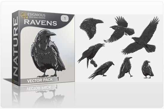 vector ravens Fresh Vector Packs: Harpies, Retro Girls, Dogs, Ravens, Wild Animals and Scrolls