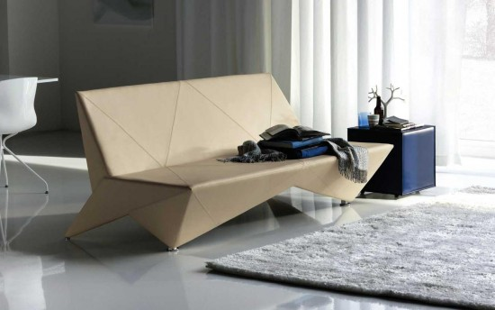 Origami Modern Leather Sofa Bed Furniture1 550x344 25+ Amazing Origami Inspired Designs