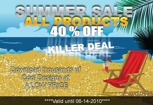 summer 3 Vectors summer sale with a 40% discount