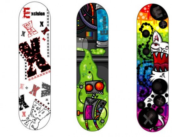 GracesExcisionSkateboards 1.preview 550x437 Design on Wheels   100+ Seriously Awesome Skateboard Prints