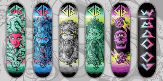 goodie mythology Design on Wheels   100+ Seriously Awesome Skateboard Prints