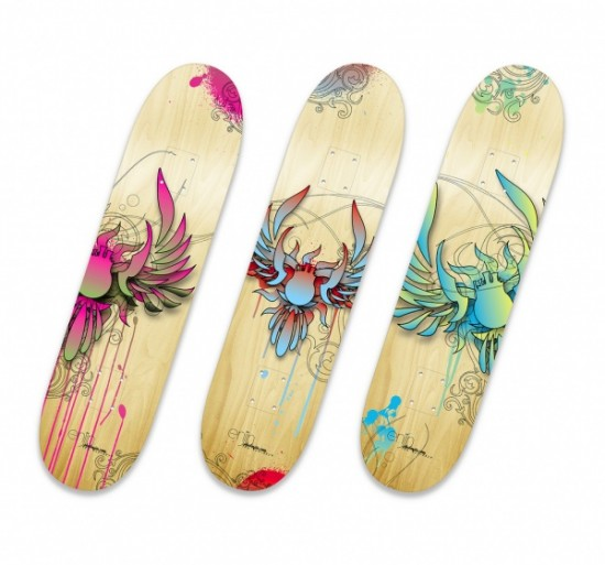 skate board design 1 550x513 Design on Wheels   100+ Seriously Awesome Skateboard Prints