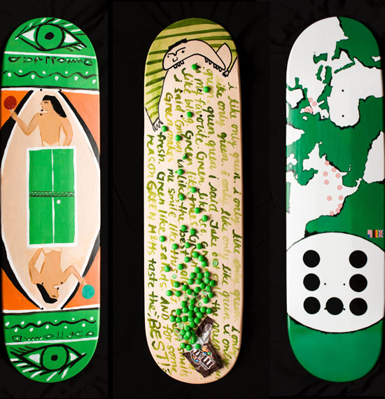 skateboard deck design green icrossing Design on Wheels   100+ Seriously Awesome Skateboard Prints