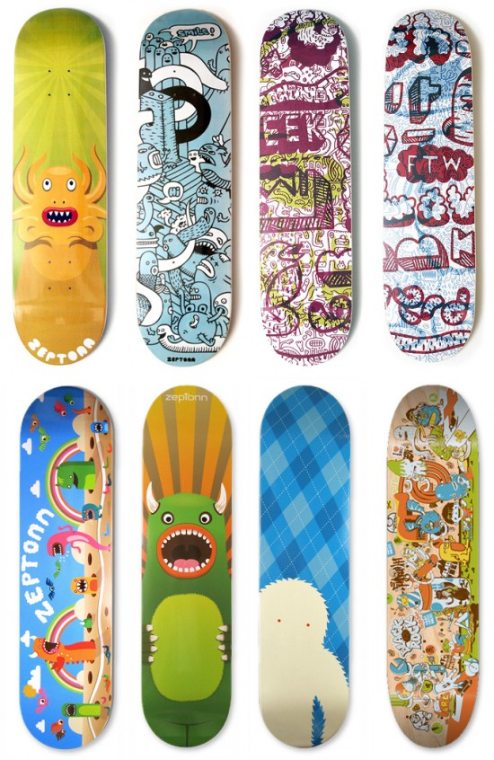skateboards 550x846 Design on Wheels   100+ Seriously Awesome Skateboard Prints