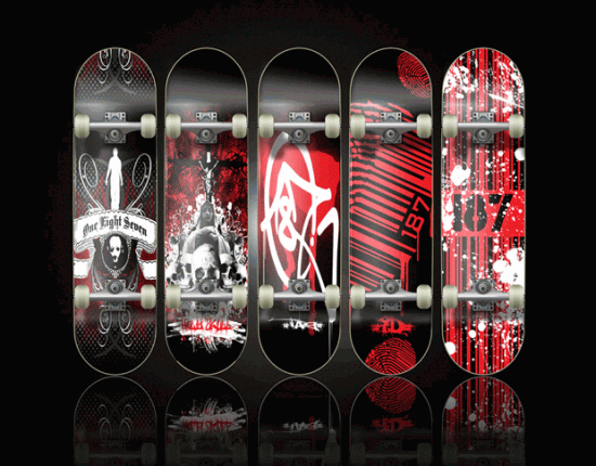 the 187 skateboard series by wes0187 550x430 Design on Wheels   100+ Seriously Awesome Skateboard Prints