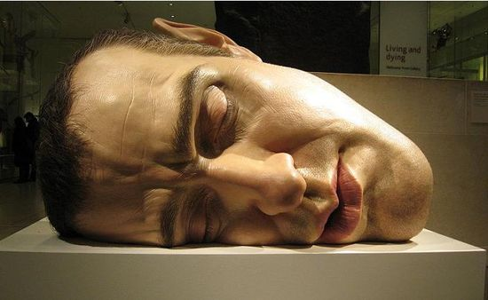 ron mueck face on side self portrait hyperrealistic 35 Sculptures That Will Make You Look Tiny