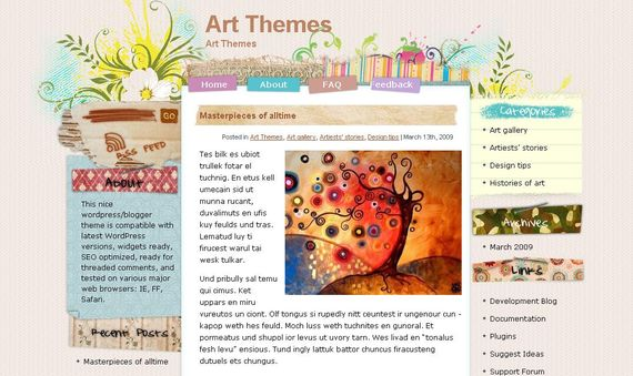 Artwork Wordpress Theme Showcase of Beautiful Free and Premium Wordpress Themes