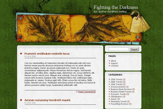 Fighting the Darkness Wordpress Theme Showcase of Beautiful Free and Premium Wordpress Themes