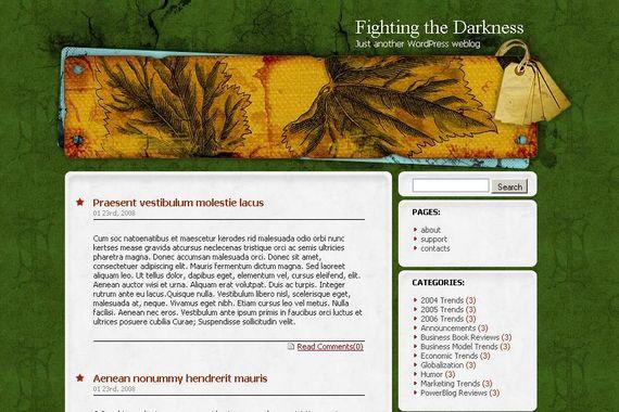 Fighting the Darkness Wordpress Theme Showcase of Beautiful Free and Premium Wordpress Themes