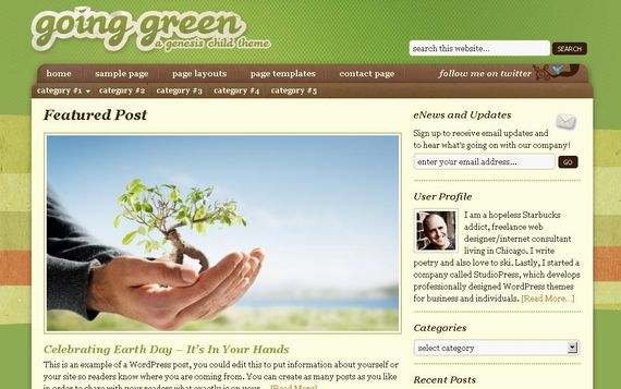 Going Green Wordpress Theme Showcase of Beautiful Free and Premium Wordpress Themes