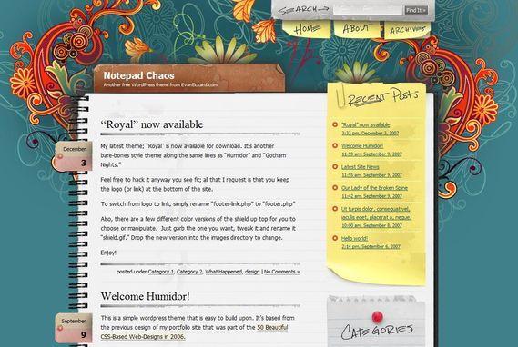 Notepad Chaos Wordpress Theme Showcase of Beautiful Free and Premium Wordpress Themes