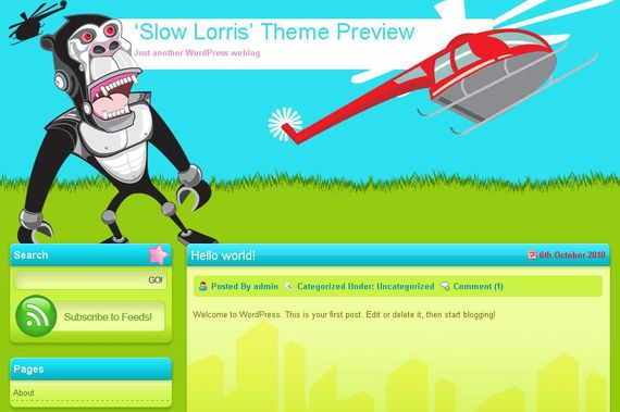 Slow Lorris Wordpress Theme Showcase of Beautiful Free and Premium Wordpress Themes