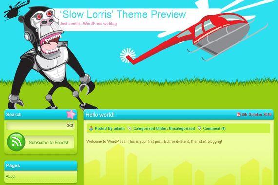 Slow Lorris Wordpress Theme Showcase of Beautiful Free and Premium Wordpress Themes