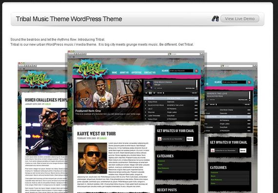 Tribal Music Wordpress Theme Showcase of Beautiful Free and Premium Wordpress Themes