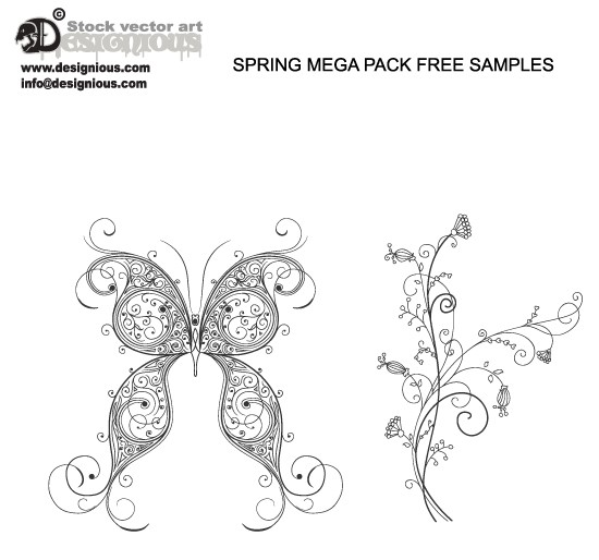 Free Samples Spring Mega Pack Fresh Vector Packs, PS Brushes and Freebies from Designious.com