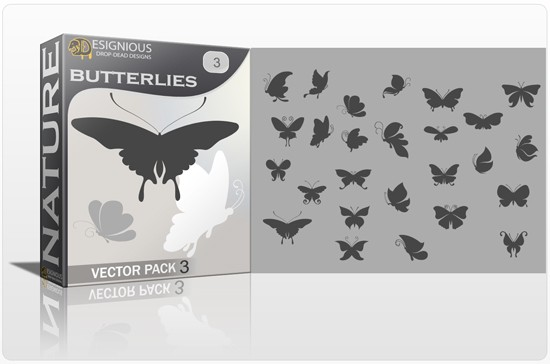 designious butterflies vector pack 3 preview 1 Fresh Vector Packs, PS Brushes and Freebies from Designious.com