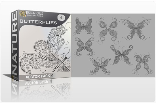 designious butterflies vector pack 4 preview 1 Fresh Vector Packs, PS Brushes and Freebies from Designious.com
