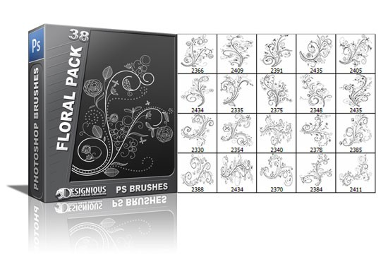 designious floral brushes 38 Fresh Vector Packs, PS Brushes and Freebies from Designious.com