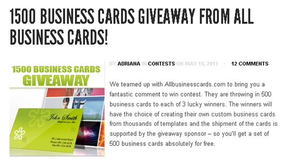 Business Cards Giveaway 1500 Business Cards Giveaway Winners