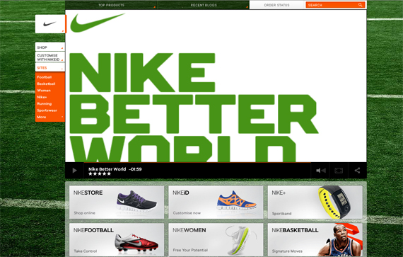 the color scheme in the nike website includes