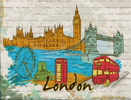 0645 london doodles Amsterdam, Barcelona, London, New York, Paris and Singapore – Famous Cities Vector Pack 2