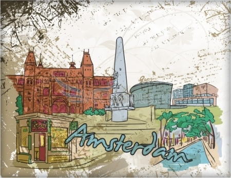 0648 amsterdam doodles Amsterdam, Barcelona, London, New York, Paris and Singapore – Famous Cities Vector Pack 2