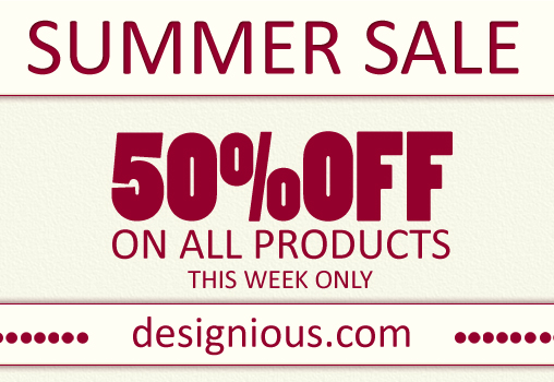 50 discount 1 week PX77 Designious.com is Melting the Prices 50% Discount on All Products!