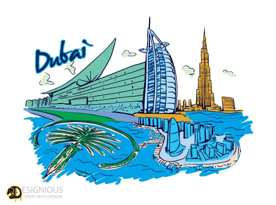 550 designious free dubai vector 10 New and Incredible Vector Packs From Designious.com 60 Famous Cities