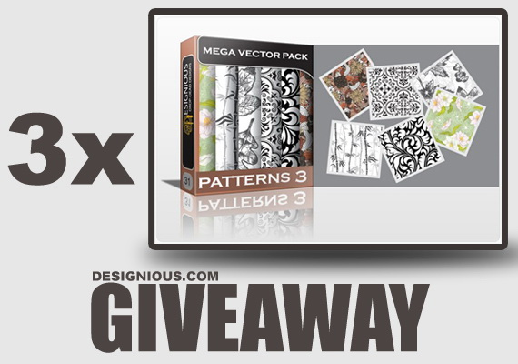 GIVEAWAY 570 Giveaway   3 x Beautiful Seamless Patterns Vector Mega Pack 3 from Designious.com