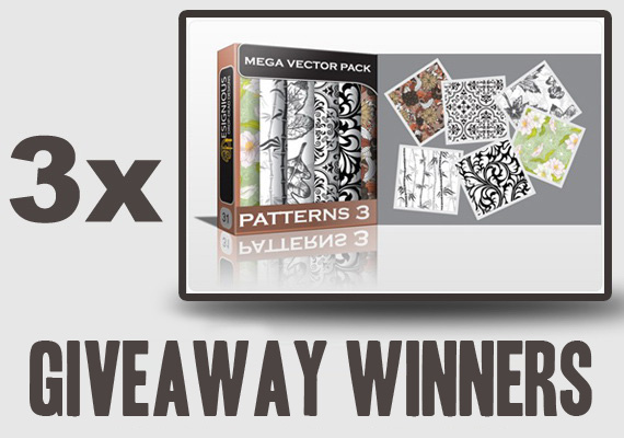GIVEAWAY 570 winners Giveaway Winners   3 x Beautiful Seamless Patterns Vector Mega Pack 3 from Designious.com