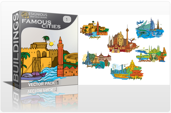 designious famous cities vector pack 1 preview 1 10 New and Incredible Vector Packs From Designious.com 60 Famous Cities