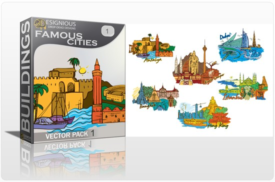 designious famous cities vector pack 1 preview 11 Antalya, Bangkok, Dubai, Hong Kong, Istanbul and Kuala Lumpur   Famous Cities Vector Pack 1