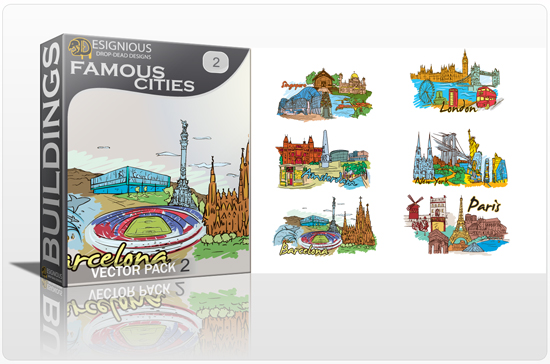 designious famous cities vector pack 2 preview 11 Amsterdam, Barcelona, London, New York, Paris and Singapore – Famous Cities Vector Pack 2