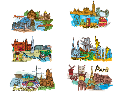 designious famous cities vector pack 2 preview 2 Amsterdam, Barcelona, London, New York, Paris and Singapore – Famous Cities Vector Pack 2