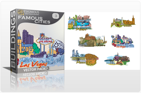 designious famous cities vector pack 3 preview 1 10 New and Incredible Vector Packs From Designious.com 60 Famous Cities