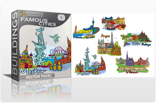 designious famous cities vector pack 5 preview 1 10 New and Incredible Vector Packs From Designious.com 60 Famous Cities