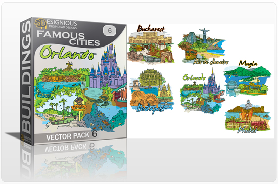designious famous cities vector pack 6 preview 1 10 New and Incredible Vector Packs From Designious.com 60 Famous Cities
