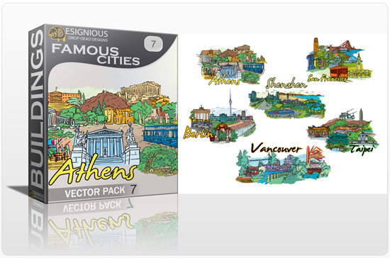 designious famous cities vector pack 7 preview 1 10 New and Incredible Vector Packs From Designious.com 60 Famous Cities