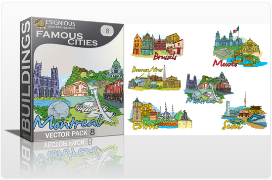 designious famous cities vector pack 8 preview 1 10 New and Incredible Vector Packs From Designious.com 60 Famous Cities