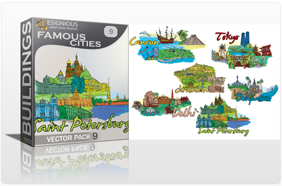 designious famous cities vector pack 9 preview 1 10 New and Incredible Vector Packs From Designious.com 60 Famous Cities
