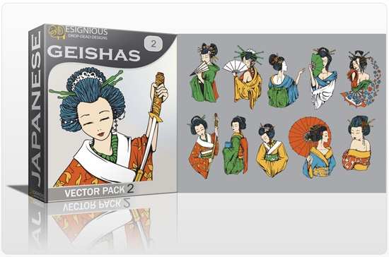 geishas pack preview 1 Special Friday 50% Discount on Japanese Vector Mega Pack 2