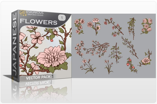 japanese flowers pack preview 1 Special Friday 50% Discount on Japanese Vector Mega Pack 2
